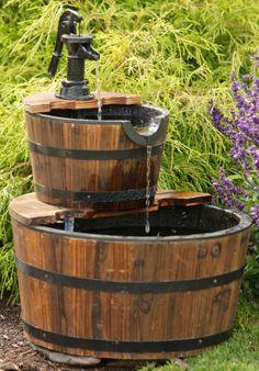 Old Wooden Buckey Water Pump Concrete Fountains Garden Fountain