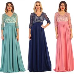 Floor length 3/4 sleeves Mother of the Bride Groom Long Evening Gown Party Dress 3 colors M - 5XL