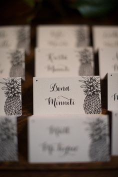 Cute guest place cards for a tropical or beach wedding