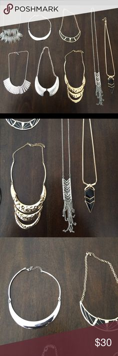 Bundle of Statement Necklaces Bundle of Forever 21 Fashion Statement Necklaces. All Necklaces are in good condition with no defects. Serious inquires only. Please Comment if you are actually serious about buying, not just to troll. Reasonable offers will be acceptable 🚫Pay Pal or Trades🚫 Forever 21 Jewelry Necklaces
