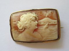 ESTATE... Victorian 10k Gold Hand Carved Shell Cameo Brooch Pin Sold  or US $72.17
