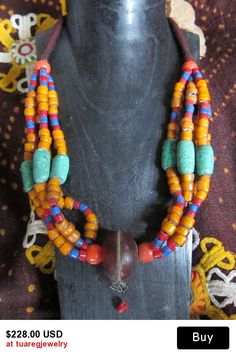 Moroccan Berber Beads Mint-Orange & Resin Necklace