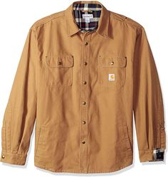 Carhartt Men's Weathered Canvas Shirt Jacket Snap Front, Frontier Brown, XX-Large at Amazon Men's Clothing store: Work Utility Outerwear Red Flannel Mens, Shirt Jacket, Shirt Dress, Canvas Shirts, Carhartt, Casual Button Down Shirts, Toe, Amazon, Brown