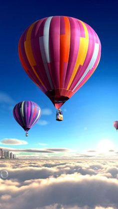 Colorful Hot Air Balloons Over