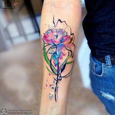 Tattoo Marya Tyurpeko - tattoo's photo In the style Watercolor, Female, Flowe Pink Lotus Tattoo, Purple Flower Tattoos, Coloured Rose Tattoo, Cover Up Tattoos, Body Art Tattoos, Sleeve Tattoos, Tatoos, Unique Tattoos, Beautiful Tattoos