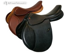 Close contact jumping saddle, in high quality grain leather. Providedwith square cantle seat, latex moulded panels, front and rear kneepads, stainless steel stirrup bars.