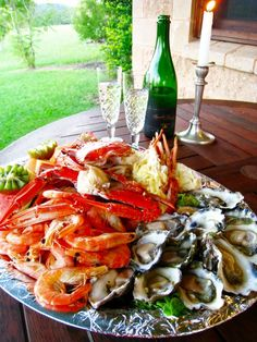 seafood platter and a glass of wine - oh yes!