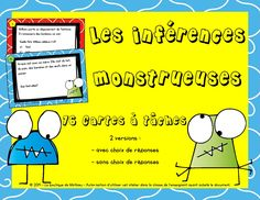 Carte à Tâches – Les inférences monstrueuses Reading Lessons, Teaching Reading, Teaching Tools, French Grammar, Future Jobs, Teaching French, Too Cool For School, Learn French, Speech And Language