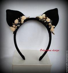 Flower Crown Headband, Cat Ears Headband, Diy Headband, Ear Headbands, Floral Headbands, Cat Valentine Victorious, Kawaii Dress, Fairy Clothes, Brooches Handmade