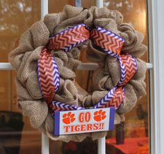 A personal favorite from my Etsy shop https://www.etsy.com/listing/250623934/clemson-tiger-burlap-wreath