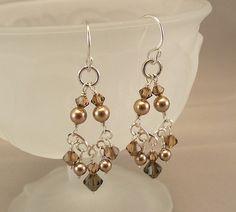 Brown Crystal Chandelier Earrings Bronze by BridalDiamantes