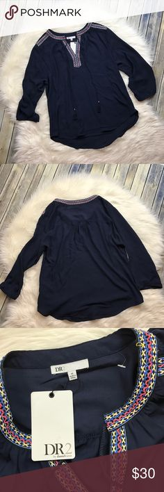 """DR2 Daniel Rainn Navy Embroidered Neck Blouse Very cute embroidered neckline navy blouse. Perfect for work or casual! It does have a tiny run I noticed on the back near the neckline - please see photos. However, it is new with the tags still attached, never worn. 100% polyester.   Measurements laying flat (without stretching)— Armpit to armpit: 23.5""""  Length, shoulder to hem:  —Front: 26"""" —Back: 28"""" Daniel Rainn Tops"""
