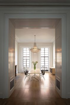 Dining room in Francesca Connolly's Brooklyn brownstone designed by Steven Harris and Lucien Rees Roberts.