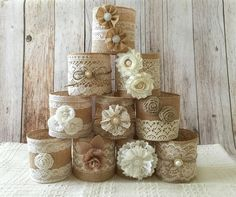 10 quart size mason jar sleeves, natural color burlap and natural color lace, wedding, bridal shower, baby shower