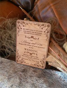 Engraved  Personalized Wooden wedding invitations / Laser Cut Rustic Handmade Wedding invitations/ Amazing Unique