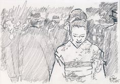 A person is, among all else, a material thing, easily torn, not easily mended. ‪#‎geisha‬ ‪#‎japan‬ ‪#‎art‬ ‪#‎sketching‬ #vincentjohnpage