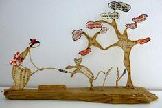 La jeune fille au petit chat - figurines en ficelle et papier : Accessoires de maison par ficelleetpapier