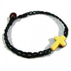 Cross bracelet yellow Thai Village #fairtrade #Thailand #handmade #Thaivillageinc
