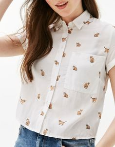 Cropped shirt with back knot - Shirts & Blouses - Bershka United States Classy Outfits, Stylish Outfits, Fashion Outfits, Crop Shirt, Shirt Blouses, Mode Style, Work Casual, Aesthetic Clothes, Blouse Designs