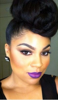 Stunning Black Updo Hairstyle natural beauty ( makeup is on the money)