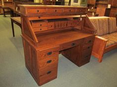 Mission Rolltop Desk - eclectic - desks - columbus - Geitgey's Amish Country Furnishings