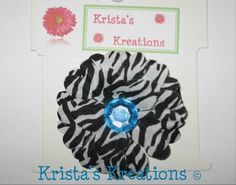#C-13 Mini Zebra Daisy Teal Rhinestone Black Lined Alligator Clip #Zebra #Black #Teal  #Daisy #Flower #HairClip #Clip #AlligatorClip #KristasKreations https://www.facebook.com/KristasKreationsEtc