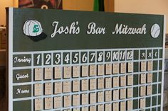 Baseball Themed Bar Mitzvah Escort Display by Lindsay Landman Events, Photo by Gustavo Campos