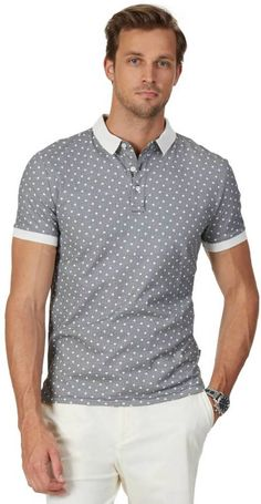 Slim Fit Perforated Collar Jersey Polo Shirt