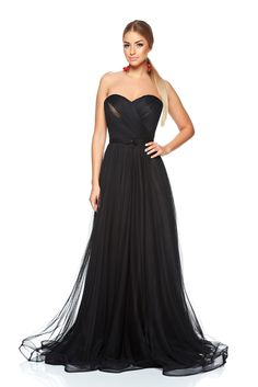 Ana Radu Special Ceremony Black Dress, push-up bra, accessorized with tied waistband, inside lining, back zipper fastening, corset tipe fastening, voile fabric