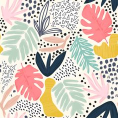 Print Patterns, Pattern Art, Jungle Pattern, Abstract Print, Abstract Pattern, Tropical Pattern, Modern Art Prints, Surface Pattern Design, Collage