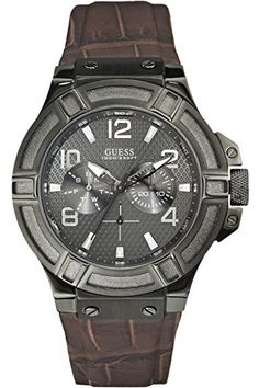 GUESS STEEL W0040G2Mens Rigor MultiFunction Dress SportLeather StrapStainless Steel CaseScrew Crown100m WR -- Check out the image by visiting the link.
