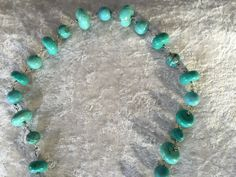 Turquoise Gemstone Beaded Link Bold Statement Necklace - pinned by pin4etsy.com