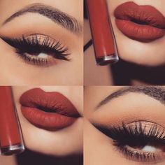 Love the red matte lip and simple eye make-up. Kiss Makeup, Cute Makeup, Gorgeous Makeup, Pretty Makeup, Hair Makeup, Makeup Goals, Makeup Inspo, Makeup Tips, Beauty Makeup