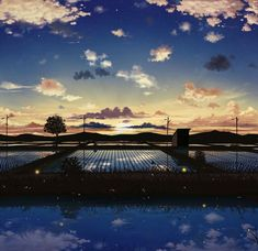Anime picture 1000x969 with  original pei (sumurai) cloud (clouds) landscape mountain reflection no people field dawn plant (plants) tree (trees) water star (stars) grass (wire) wires sun rice paddy