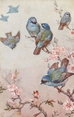 seven blue birds, four on blossom tree, three flying, butterfly below Free freebie printable vintage postcard. Vintage Cards, Vintage Images, Vintage Paper, Decoupage, Blossom Trees, Cherry Blossoms, Bird Art, Bird Feathers, Beautiful Birds