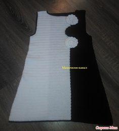 Связала для дочки черно-белое платье Инь-Ян по мотивам платья от iranika с Осинки. Записала МК.  Мое платье получилось такое (вязала патентными полуст.