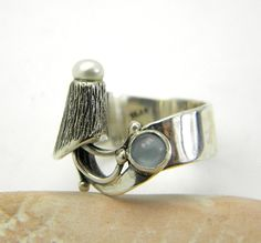 Aquamarine ring sterling silver Unique two stone by nikiforosnelly
