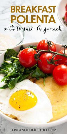 This savory breakfast polenta bowl is a beautiful and comforting vegetarian morning meal. Creamy parmesan polenta is topped with sautéed spinach and cherry tomatoes along with a sunny side up egg. If are a polenta fan, but haven't tried it for breakfast - you need to give this one a try! Best Breakfast Recipes, Savory Breakfast, Brunch Recipes, Seafood Recipes, Pescatarian Diet, Pescatarian Recipes, Vegetarian Recipes, Healthy Recipes, Egg Recipes