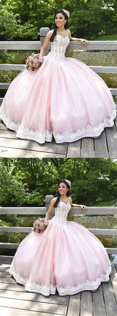 pink beaded prom party dresses with appliques, fashion formal evening gowns, sweet quinceanera dresses.