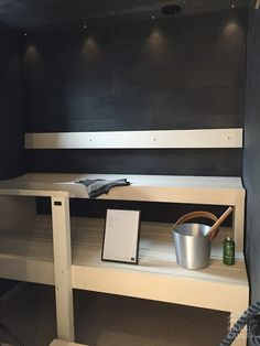 Musta sauna Vantaan asuntomessuilta. Spa Rooms, Saunas, Shelves, Decor Ideas, Home Decor, Black, Shelving, Decoration Home, Room Decor