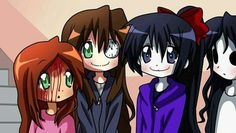 This is so cute! Clockwork, Sally, Nina, and Jane are going back to school! They're all sk kawaii! Creepypasta Names, Clockwork Creepypasta, Creepypasta Proxy, Familia Creepy Pasta, Creepy Pasta Family, Fnaf, My Little Pony, Yuri, Creepy Monster