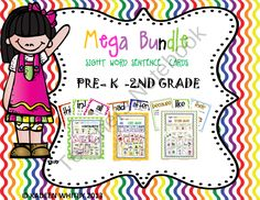 MEGA BUNDLE OF SIGHT WORD SENTENCE CARDS PRE-K-2ND GRADE from Kadeen Whitby Shop on TeachersNotebook.com (193 pages)  - I finally got around to bundling all my sight words posters together seeing that most people want all of them together. This bundle includes 193 pages of sight word sentence cards.  Starting with the pre-k list, kindergarten,1st grade and 2nd grade. you a