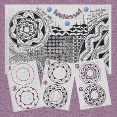 I used MyMemories Digital Scrapbooking Software to fancy up this tangle pattern. Walessal tangle pattern by molossus Zentangle Drawings, Doodles Zentangles, Doodle Drawings, Tangle Doodle, Zen Doodle, Doodle Art, Doodle Patterns, Zentangle Patterns, Doodle Borders