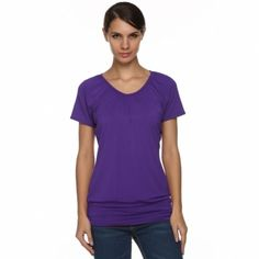 Angvns Stylish Ladies Women V Neck Short Sleeve Casual Leisure Loose Solid T-Shirt_Tees / T-shirt_Women_Women's Fashion Zone & Best Price Clothes