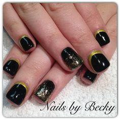 Gold border New Years nails - Nail Art Gallery by nailsmag.com check out www.MyNailPolishObsession.com for more nail art ideas.