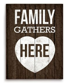 Family Gathers Here Wood Wall Art