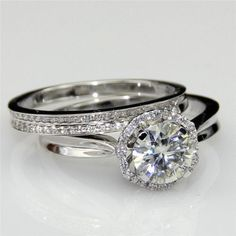 3 Ct Diamond Engagement Wedding Halo Women's Bridal Ring Set 14K White Gold Over #Silvergemsjewelry #WeddingEngagementAnniversaryValentinesGift