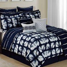 Anadarko Tie Dye Plaid 12 Piece Printed Reversible Comforter Set by Trent Austin Design Best Bedding Sets, Luxury Bedding Sets, Comforter Sets, King Comforter, Cama Tie Dye, Bed Covers, Duvet Cover Sets, Tie Dye Bedding, Art Blue