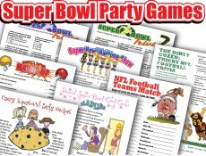 Superbowl fun for kids. Links to party checklist, word scramble, game ideas.  Free printables.