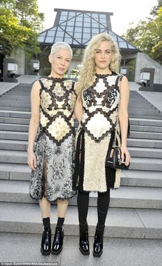 Patchwork chic: Michelle and Riley joined forces for a photo opportunity